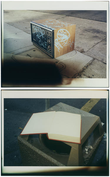 Untitled (Graffiti Microwave and Open Book)