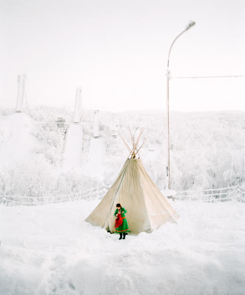 Sami Girl in front of Lavoo,  Russia 2006