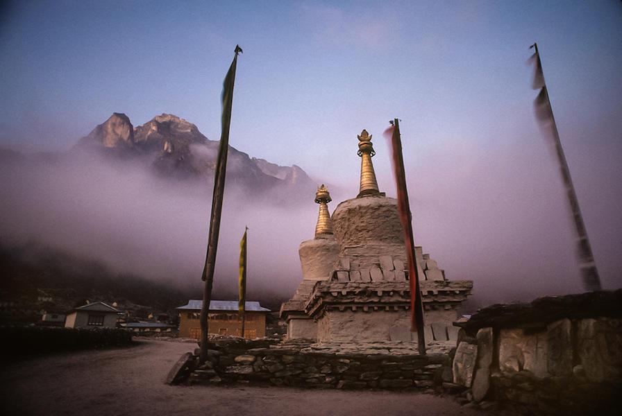 Buddhist stupa at dusk in the Khumbu, Nepal