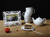 Still Life with Tea Set, Picture Frame and Cake