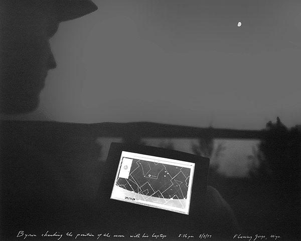 Byron Checking the Position of the Moon with His Lap Top Flaming Gorge, WY