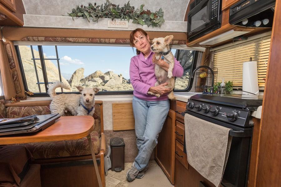 Debbie with Rupert and Elliot. Alabama Hills, CA.