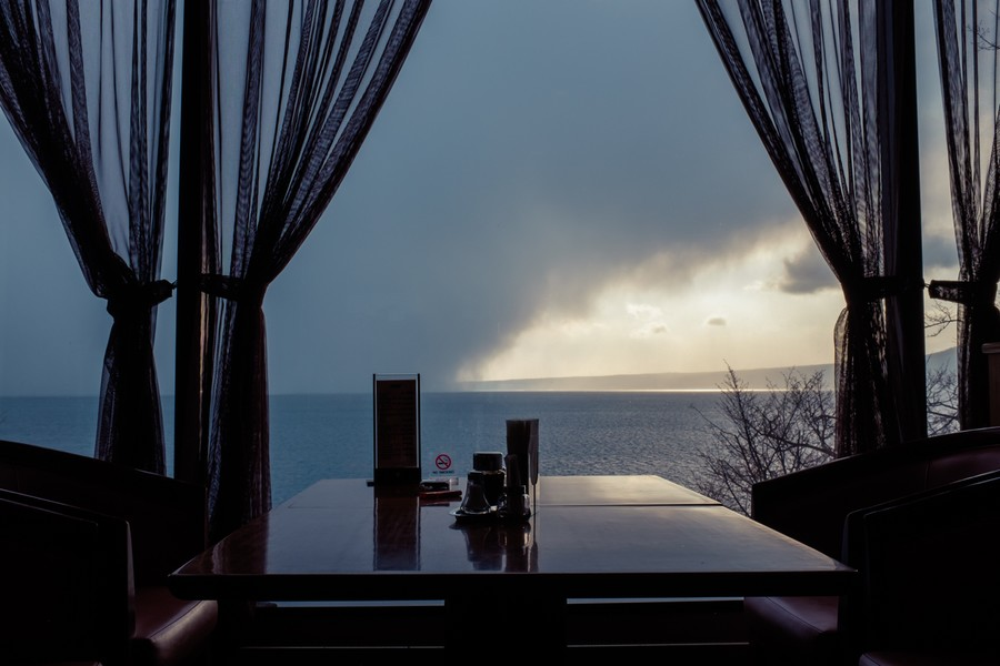 Winter Storm at Sunset, Lake Shikotsu